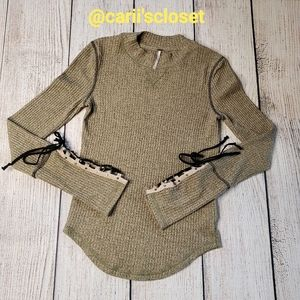 Free People Lace Up Cuff Thermal Long Sleeve Top